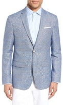Sand Men's Trim Fit Windowpane Wool & Linen Sport Coat