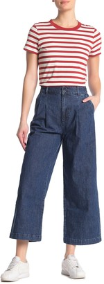 Madewell High Waisted Pleated Wide Leg Crop Jeans