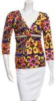 Versace Long Sleeve Floral Print Top