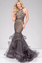 Jovani Halter Neck Tiered Mermaid Dress 45995