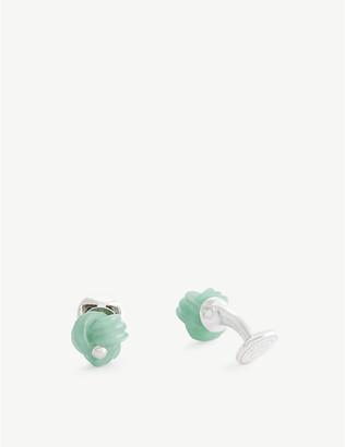 Tateossian Green aventurine and silver cufflinks