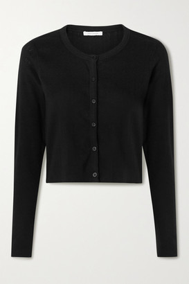 Ninety Percent Cropped Pointelle-knit Organic Cotton Cardigan - Black