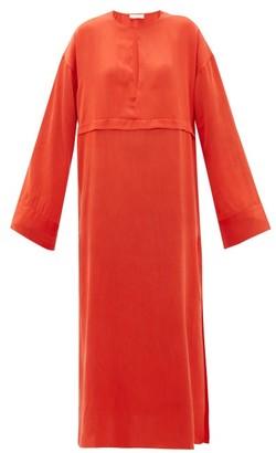 Worme - Pleated Keyhole Silk Maxi Dress - Red