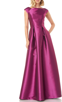Kay Unger New York Addison Boat-Neck Lola Twill Jacquard Gown