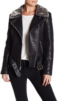 Rachel Roy Faux Leather Jacket with Faux Fur Collar