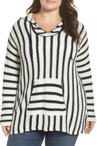 Vince Camuto Stripe Seed Stitch Hoodie (Plus Size)