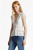 French Connection Hesse Embroidered V Neck Top
