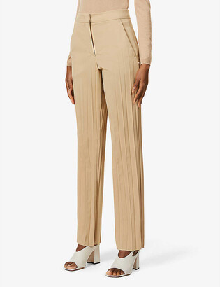 Sportmax Clara pleated mid-rise wool-blend trousers