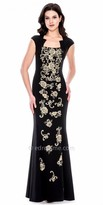 Decode 1.8 Regal Cap Sleeve Embroidered Fitted Evening Gown