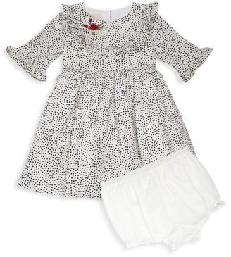 Laura Ashley Baby Girl's 2-Piece Dot-Print Crepe Dress & Cotton Bloomers Set