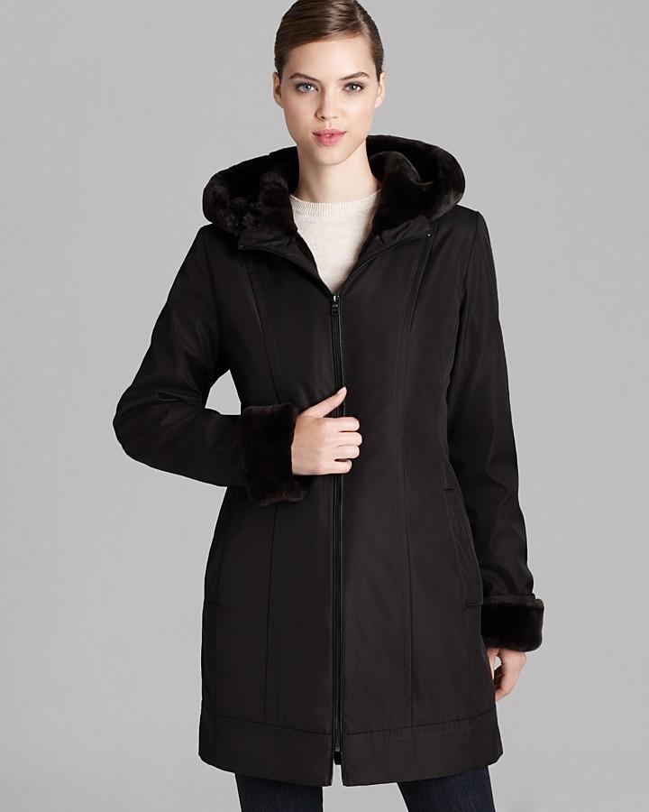 Marc New York Coat - A Line Faux Fur Trim