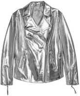 H&M Leather Biker Jacket - Silver-colored - Ladies