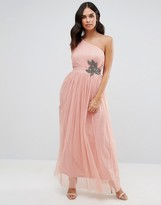 Little Mistress One Shoulder Embellished Maxi Dress