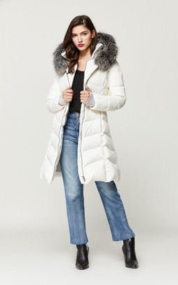 Roux SoiakyoSoia & Kyo fit and flare down coat with silver fur trim