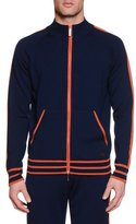 Stefano Ricci Contrast-Trim Zip-Up Jogging Jacket, Navy