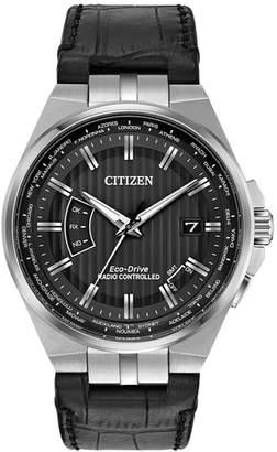 Citizen Men's 42mm World Perpetual A-T Watch w/ Leather Strap, Black