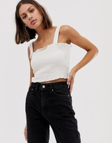Weekday shirred crop top with straps in white