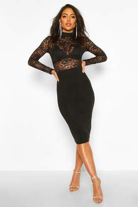 boohoo Laced Detail High Neck Midi Dress