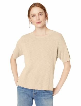 Daily Ritual Amazon Brand Women's Lightweight Short-Sleeve Open-Crewneck Pullover Sweater