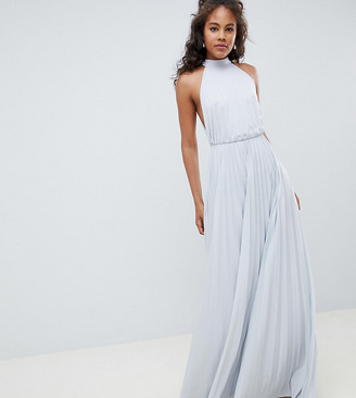 Asos Tall DESIGN Tall high neck pleated maxi dress-Green