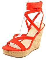 GUESS Treacy Women Open Toe Canvas Red Wedge Sandal.