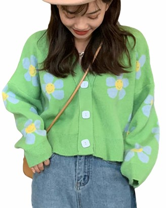 Springcmy Women Flower Pattern Cardigan Long Sleeve V-Neck Button Down Knitwear England Style Cropped Sweater Tops (A Black One Size)