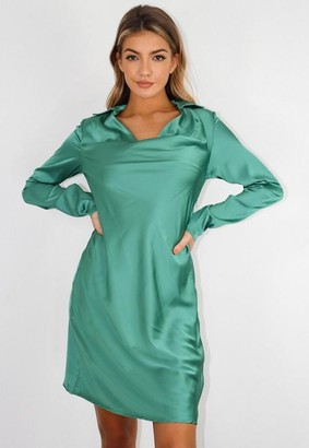 Missguided Tall Green Satin Cowl Front Dress