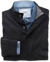 Charles Tyrwhitt Charcoal button neck merino wool sweater