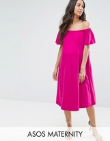 Asos Off Shoulder Midi Dress