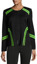 "Ming Wang 24""L Contrast-Trim Knit Jacket, Black-Green"