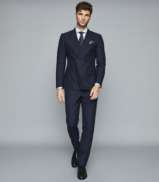 Reiss Steam - Wool Blend Double Breasted Blazer in Navy