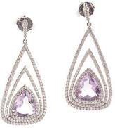 Rarities Amethyst Sterling Silver Zircon Drop Earrings $600 New