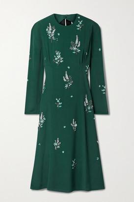 Erdem Velvet-trimmed Embellished Cutout Crepe Midi Dress - Emerald