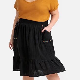 Castaluna Plus Size Embroidered Flared Midi Skirt