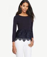 Ann Taylor Petite Botanical Lace Peplum Sweater