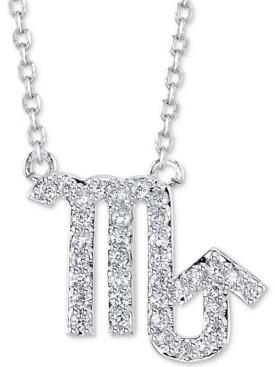 "Unwritten Cubic Zirconia Zodiac Pendant Necklace in Fine Silver Plating, 16"" + 2"" extender"