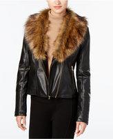 Cole Haan Faux-Fur-Collar Faux-Leather Jacket