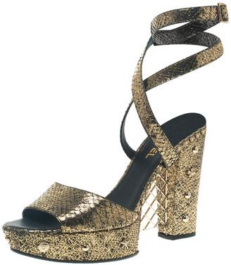 Chanel Metallic Gold Python Ankle Strap Platform Sandals Size 41