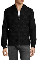 Alexander McQueen Embroidered Skulls Zip Up Sweater
