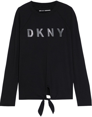 DKNY Knotted Appliqued Stretch Cotton And Modal-blend Jersey Top