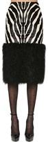 Saint Laurent Zebra Print Faux Fur Midi Skirt
