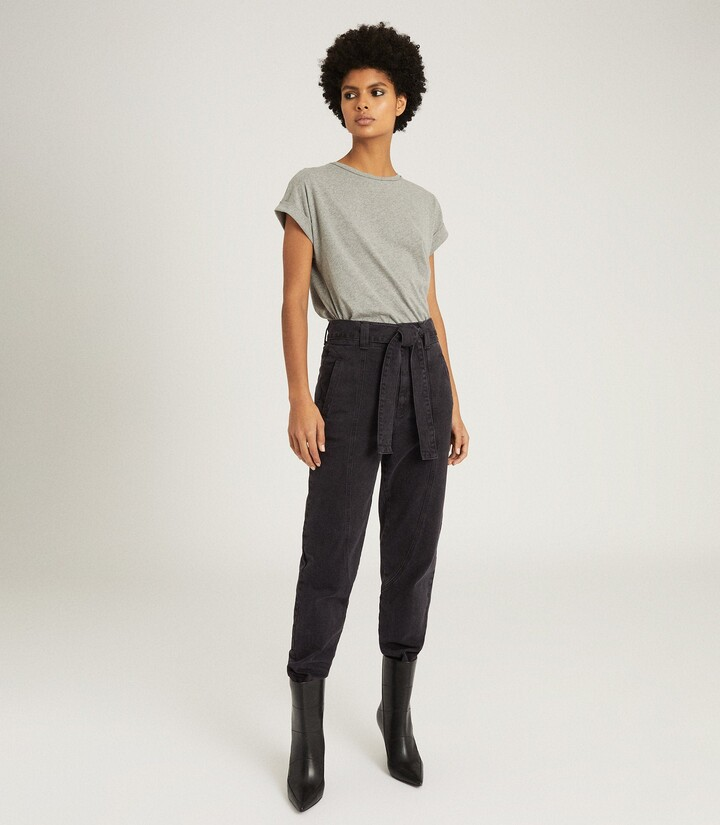 Reiss Flynn - High Rise Tapered Fit Jeans in Dark Grey
