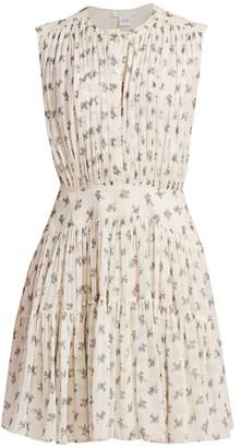 Chloé Ditsy Floral Silk Gathered Mini Dress