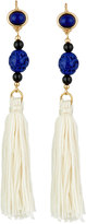Kenneth Jay Lane Beaded Thread Tassel Earrings, White