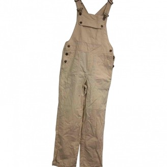 Sessun Ecru Cotton Trousers for Women