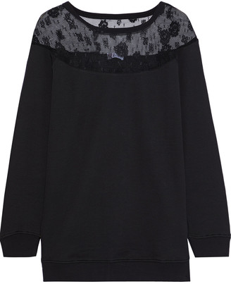 RED Valentino Lace-paneled French Cotton-blend Terry Sweatshirt