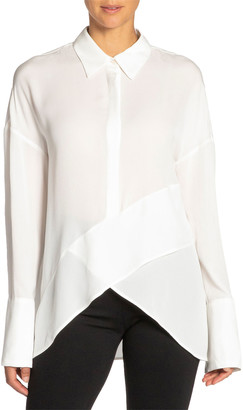 Santorelli Perla Drop-Shoulder Long-Sleeve High-Low Silk Georgette Top