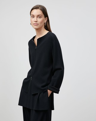 Lafayette 148 New York Cotton Crepe Double Knit Zip-Front Cardigan