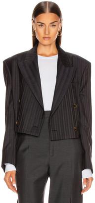 Acne Studios Josie Pinstripe Suit Jacket in Navy Blue | FWRD