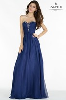 Alyce Paris Prom Collection - Long Chiffon Prom Dress with Ruched Bodice 8022